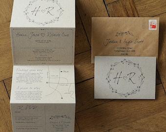 Woodland Story Rustic Wedding Invitation - concertina. Natural / Barn / Farm / Rustic wedding invites. Wedding invitation set with map.