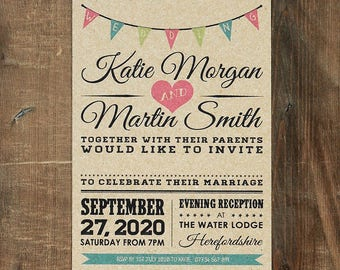 Vintage Bunting Wedding Invitation & Save the Date on Kraft Card - Rustic wedding invites, Rustic Wedding invitations UK, Australia