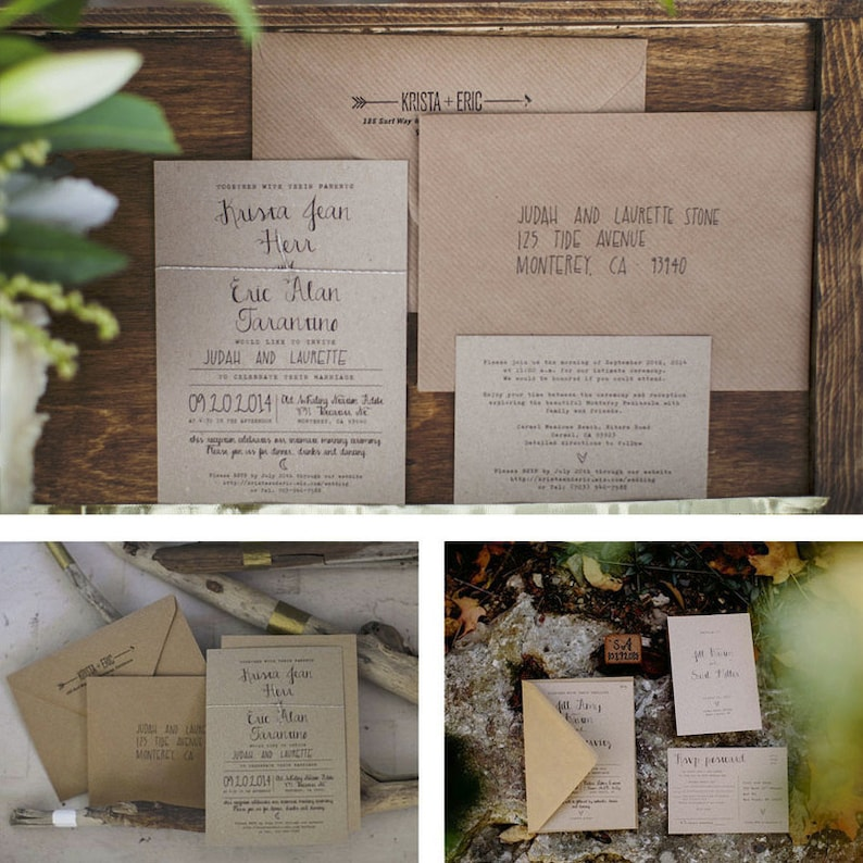 Calligraphy Wedding Invitations On Recycled Rustic Kraft Card Or Save The Date Magnets Wedding Invites Australia Uk Wreath Map