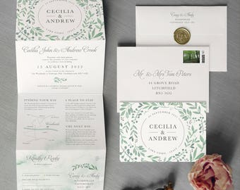 Secret Garden - Concertina Wedding Invitations and Save the Date. Springtime Greenery Garland, rustic fairytale-forest wedding invitation.