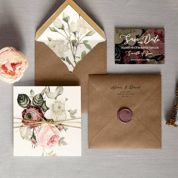 Outdoor Wedding Invitations: English Garden Luxury Folding Wedding Invitations & Save