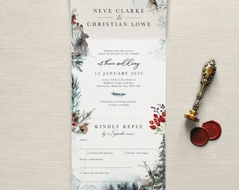 Winter Christmas Wedding Invitation. A Winter's Tale - All-in-one wedding invitations. Snowflakes, Christmas, berries, frost, deer, mist