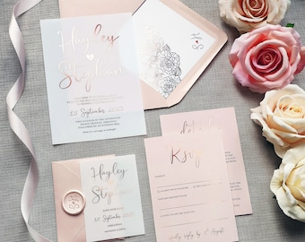 Pearl - Foil Vellum Wedding Invitations | Quinceanera | Save the date or change the date. Blush pink foil wedding invites on Vellum or card.