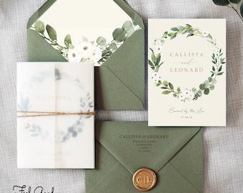 Amelia White Floral Wedding Invitation - Greenery Wreath with White Flowers. Eucalyptus wedding invites, Save the Date, rustic twine, vellum