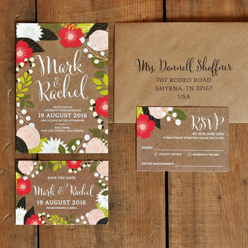Floral Frame Wedding Invitation Set On Luxury Card Modern Wedding Invites Wedding Invitations Uk Wedding Invitations Australia