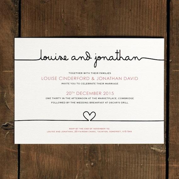 Scribble Handwriting Wedding Invitation Set On Luxury Card Etsy