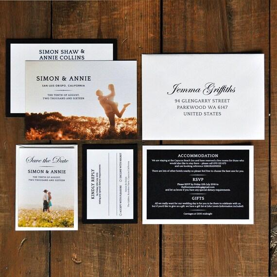 Invitations Set Tone Timeless: Timeless Photograph Wedding Invitation Set On Luxury Card