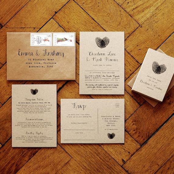 Fingerprint Calligraphy Wedding Invitation Set Or Save The Etsy