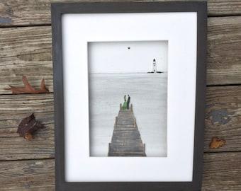 Pebble Art Couple on Dock,Lighthouse , Bride and Groom, Romantic Couple, Wedding Gift, Anniversary Gift, Engagement Gift, framed art.