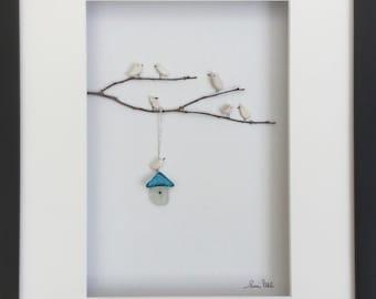 Pebble Art Bird Family with Genuine Sea Glass Bird House Modern WallArt Abstract Contemporary Signed.