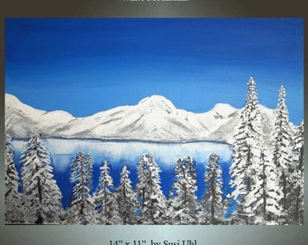 11 X 14 Original Painting Canvas Board Winter Landscape White Mountains Range Signed