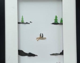 Pebble Art, Pebble Couple, Couple in Canoe, Romantic Couple, Shadow Box art.