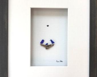 Pebble Art Baby Bird in Nest, Pebble Art framed, Shadowbox Art, OOAK pebble art, nursery art