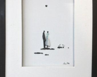 Pebble Art Couple, Romantic Couple, Wedding Gift, Anniversary Gift, Shower Gift, Engagement Gift, Framed Art.