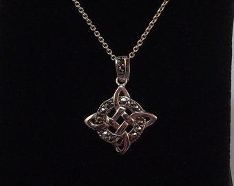 Marcasite pendant etsy unusual and pretty celtic knot design marcasite pendant aloadofball Choice Image