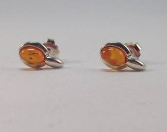 Pretty Pair of Silver Dinky Baltic Amber Ear Studs