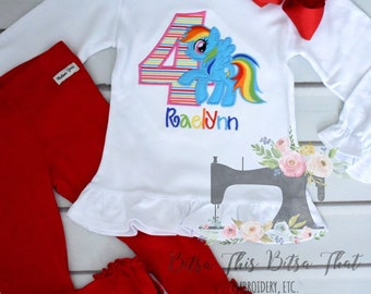 Inspired By Rainbow Dash Birthday Applique Shirt