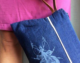 Blue Denim Handbag for Women, Evening Clutch, Ladies Handbag, Pleated Clutch, Navy Clutch Purse, Block Print Fabric, Nature Print