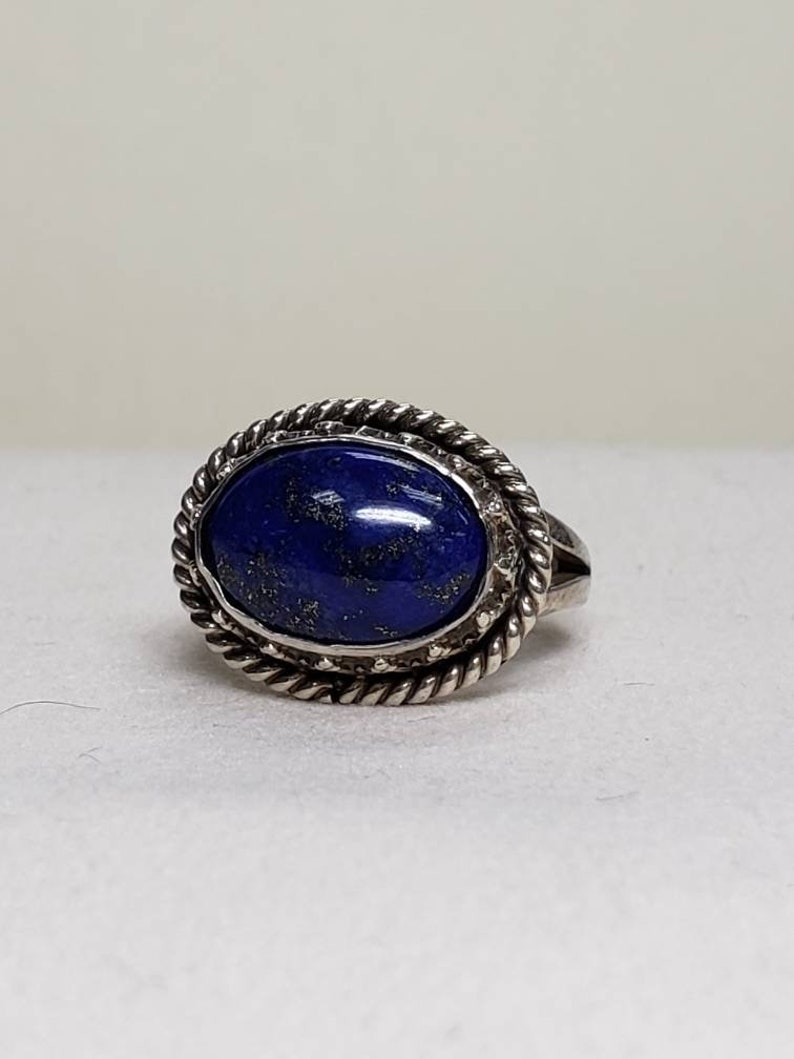b61983a0f9c Vintage Sterling Silver Lapis Ring W 682