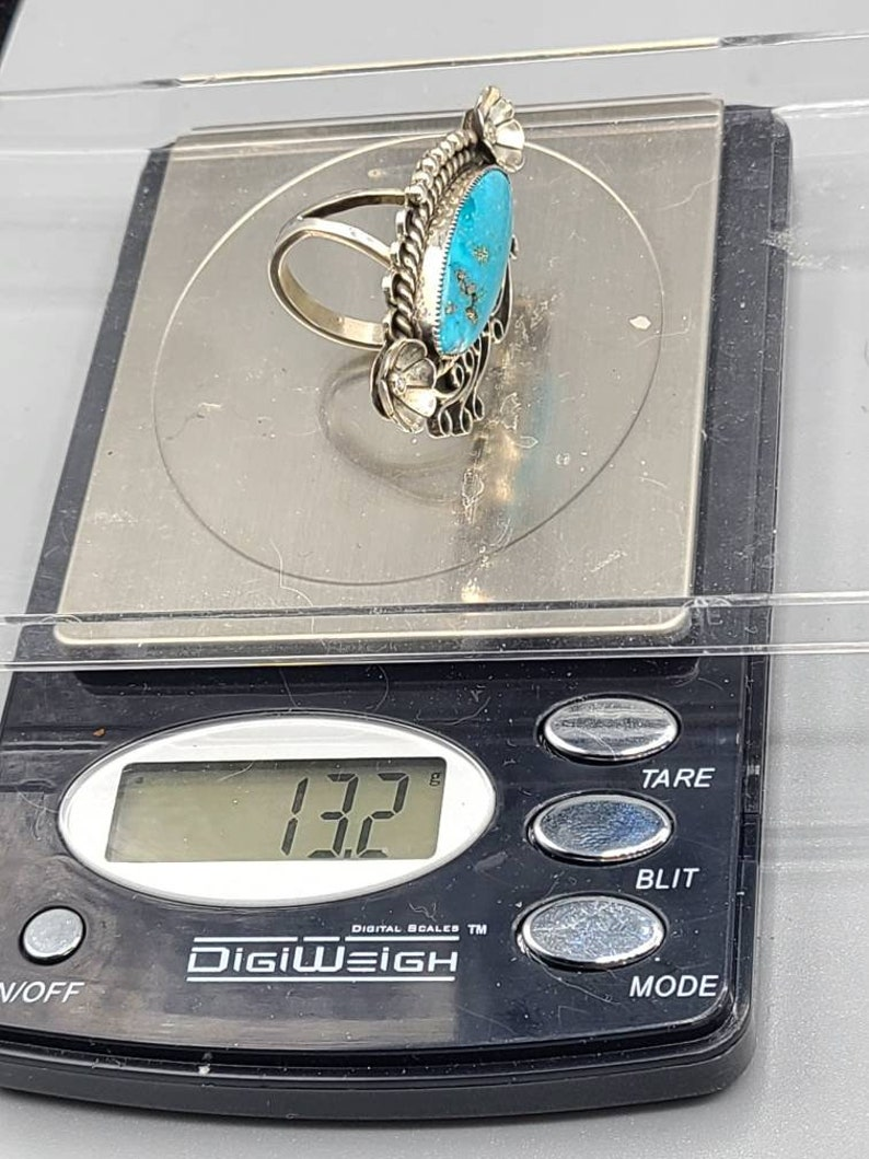 Vintage Signed Larry Pinto Navajo Native American Indian Handmade Silver Turquoise Statement Ring Size 8 Item w# 1450