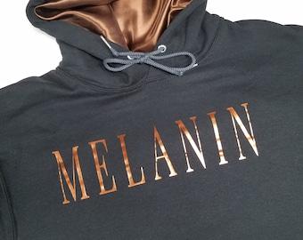MELANIN, Women's Satin Lined  Hoodie, Graphic Tee, Black Girls Rock, Black Girl Magic