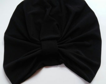 Womans Black Turban Hat with Satin Lining