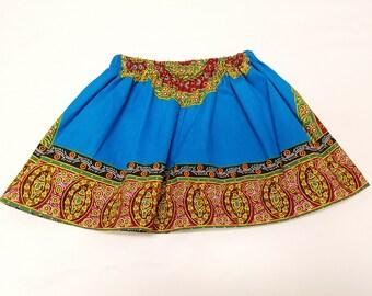 Blue Angelina Girls Skirt, Ankara Print Skirt, Size 4