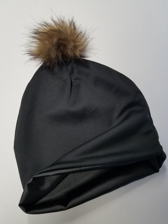 0a76b91e32a Black Satin Lined Pom Pom Cap