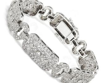 Bridal Bracelet Bridesmaid BR461 Black and Silver Bracelet Bridal Jewelry Hematite Crystal Bracelet Link Bracelet Art Deco Bracelet