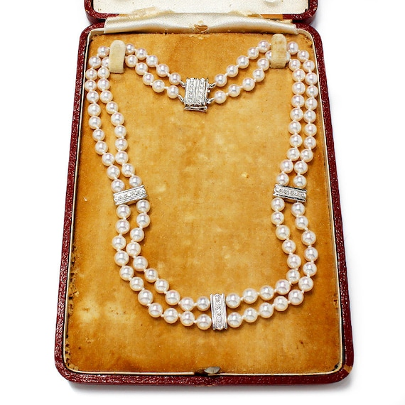 c1a493423d5f Mikimoto Pearl Double Strand Diamond Necklace 14 Choker w