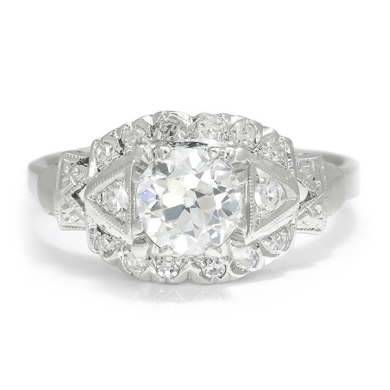 09dea51ced597 Vintage Art Deco Old Mine Cut Diamond Engagement Ring Platinum 1.10ctw