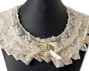 Cameo Collar Lace Bertha Ivory Victorian Civil War Ball Day Gown Dress Addition