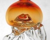 Short Jellyfish - Hanging Glass Sculpture Deep Sea Creature Ocean Animal Sturdy Tentacle Floating