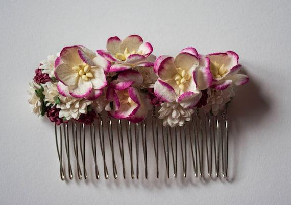 Rosa Und Bordeaux Blumen Haare Kammen Etsy