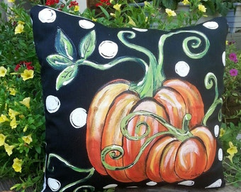 Orange Pumpkin and Vines, Black and White Polka Dot, Fall Pumpkin Pillows, Pillow Cover