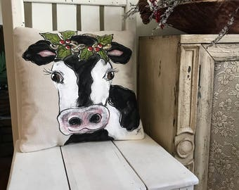 Farmhouse Cow Decor Modern Pillow Holstein With Garland Rustic Christmas Decorations Cushions Cover