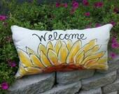 Window Seat Cushion, Farmhouse Bench Pillows, Sunflower Room Decor, Long Lumbar Pillow, Front Porch Decor, Porch Pillow Covers, Cover
