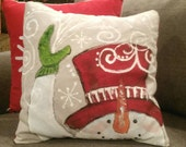 Snowman Pillow, Red Top Hat, Christmas Pillow, Red Top Hat, Whimsical, Hand-painted, Handmade, Pillow Cover