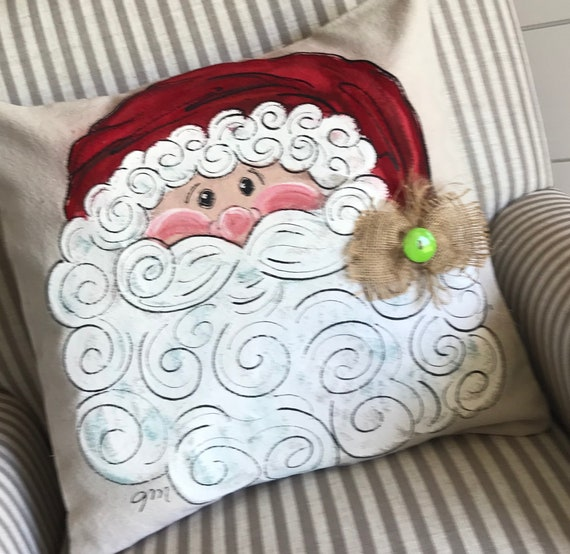 Santa Claus Pillow Hand Painted Pillow Christmas Decor Etsy