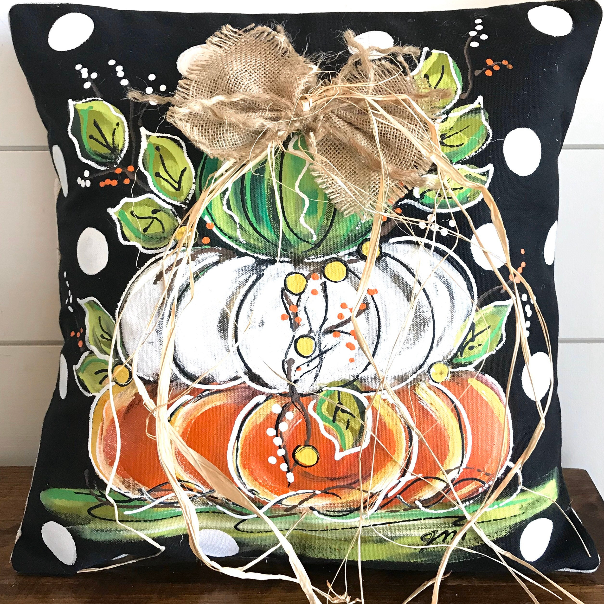 Green Orange Stacked Pumpkins on Black and White Polka Dots Pillow Cover Fall Hand-painted White