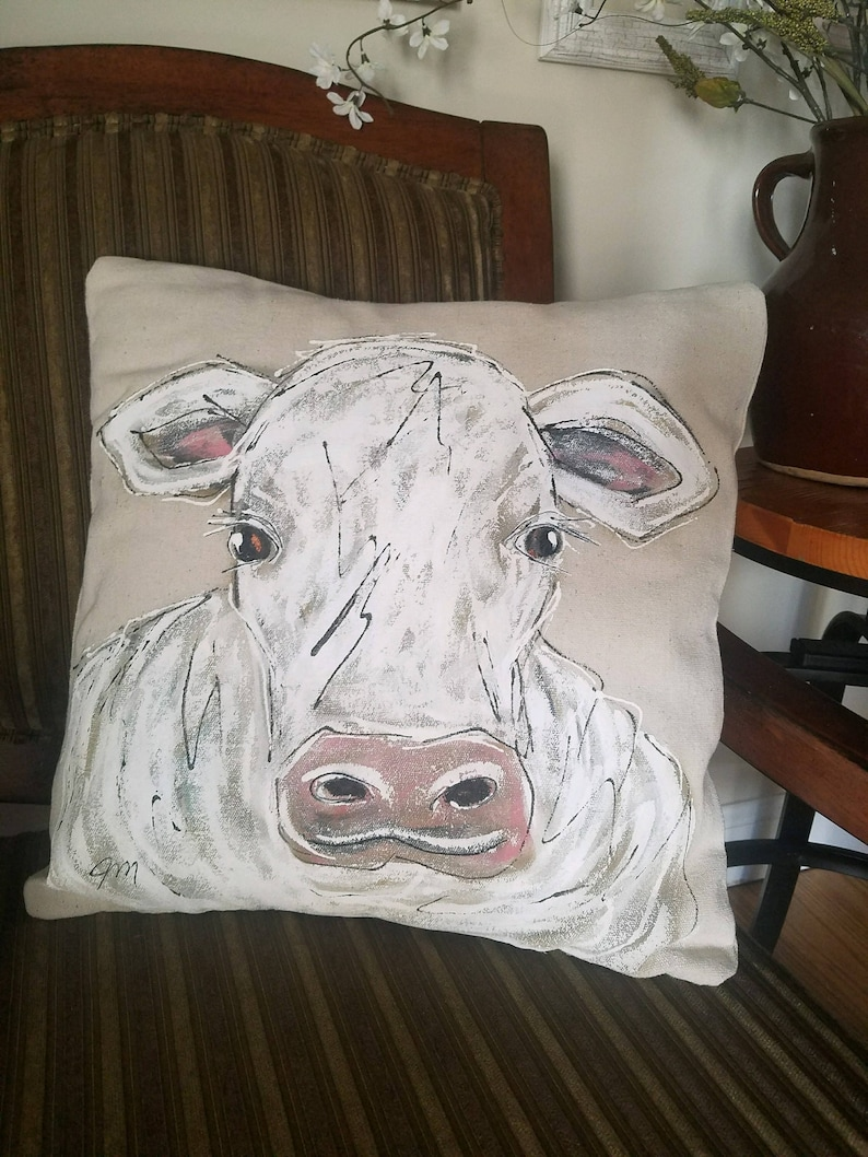 Pillow Cover Hand-painted Pillows Farmers/' Gifts Accent Pillows Farmhouse White Cow Cottage Decorative Pillows Pig Set