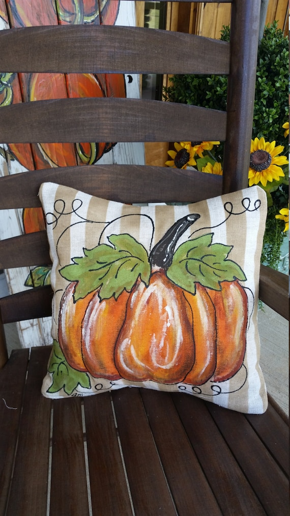Halloween Fall Seasonal Decor Hand-painted Pillows Orange Fall Pumpkins Pillow Cover Thanksgivings Decorations Holidays Sunflowers