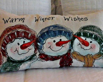 Christmas Lumbar Pillows, Snowmen, Warm Wishes, Holiday Pillow, Christmas, Hand-painted, Handmade, Red and Green, Pillow Cover