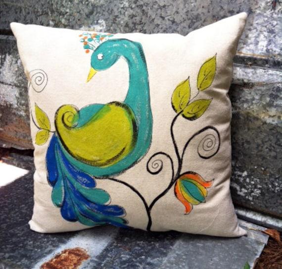 Peacock Pillow Outdoor Cushions Indoor