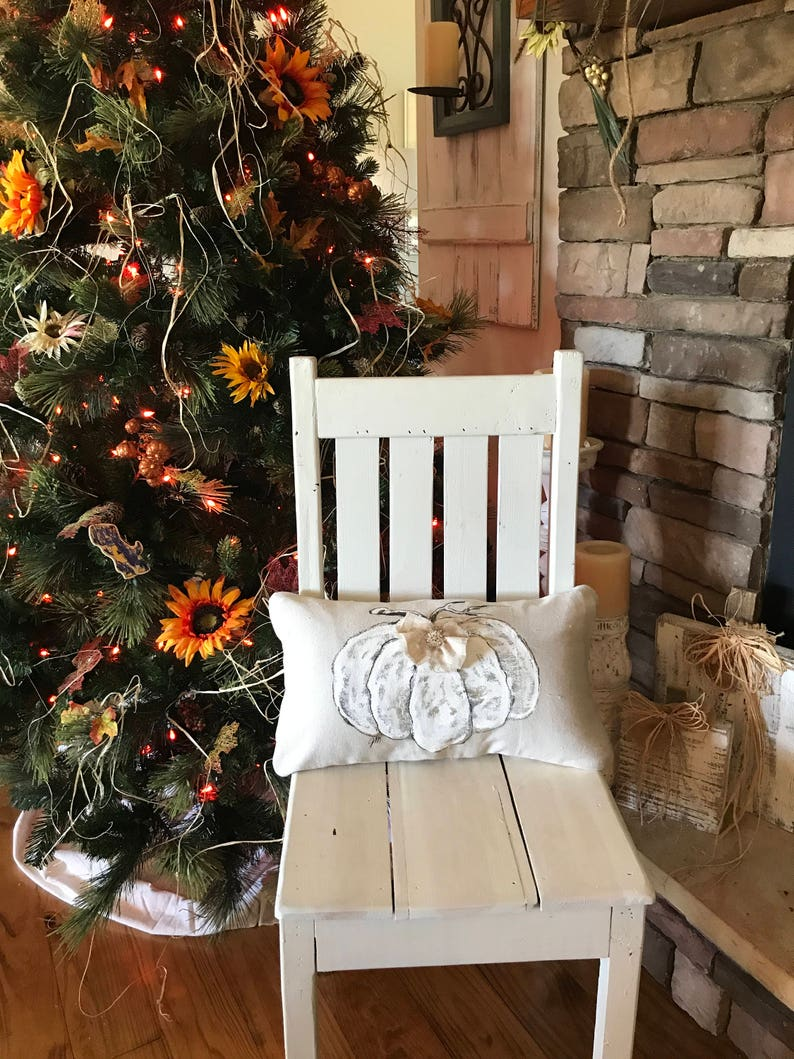 Cottage Farmhouse Pillow Cover Hand-painted Bow Holidays White Pumpkin Lumbar Rhinestone Button