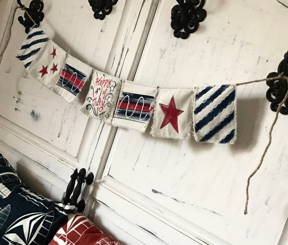 1f52a2c8702226 Fabric Bunting Banner Happy Fourth of July Patriotic
