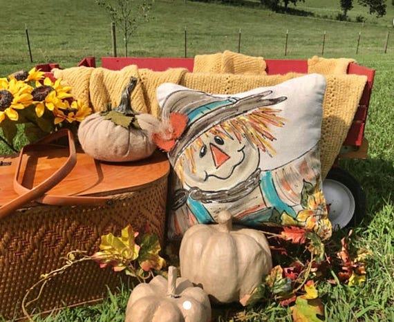 Farmhouse Scarecrow Pillow Fall Pillows