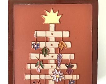 "Handmade, Ceramic Summer Solstice Art Tile, 5.75"" x 4"""