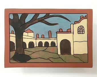 "Handmade, Ceramic Art Tile, Moravian Pottery and Tile Works Courtyard, 4"" X 6"""