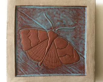 """Handmade Ceramic Art Tile: Moth, 4""""x4"""""""